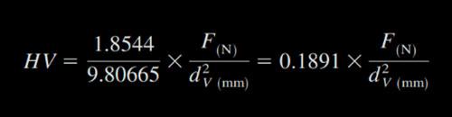 Immagine formula durezza Vickers