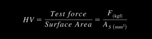 Vickers hardness formula